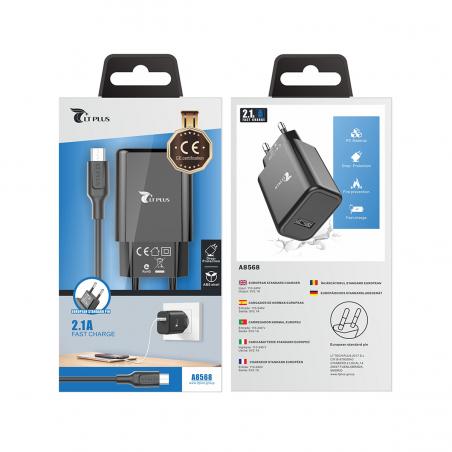 LT PLUS A8568 CARGADOR RÁPIDO CON CABLE MICRO USB V8 2.1A NEGRO