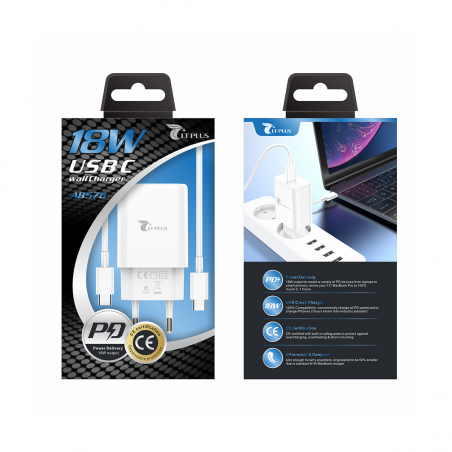 LT PLUS A8576 CARGADOR PD 18W CON CABLE TYPE-C TO LIGHTNING BLANCO