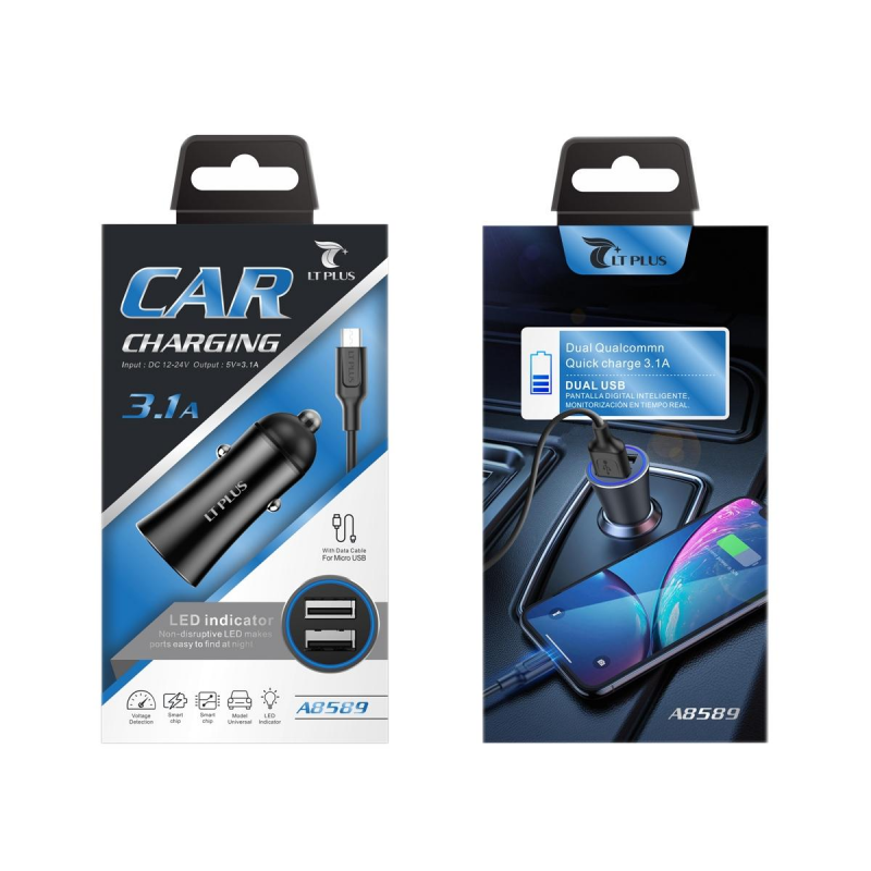 LT PLUS A8589 CARGADOR PARA COCHE CON LUZ LED Y CABLE MICRO USB 3.1A NEGRO