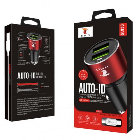 LT PLUS CC01S CARGADOR AUTO-ID PARA COCHE CON CABLE MICRO USB 2 PUERTOS NEGRO