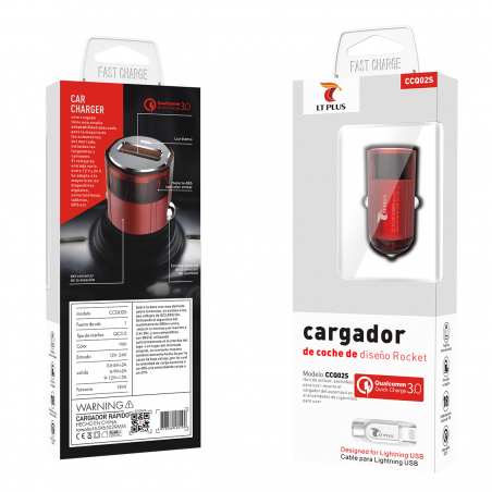 LT PLUS CCQ01S CARGADOR PARA COCHE DISEÑO ROCKET CON CABLE MICRO USB