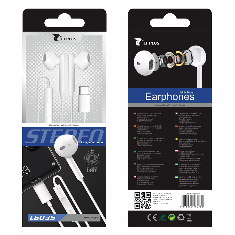 LT PLUS C6035 AURICULARES IN-EAR CON MICROFONO TYPE-C 3.5MM BLANCO
