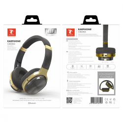 LT PLUS C6050 CASCO AURICULAR INALÁMBRICO BLUETOOTH 4.2 CON FM TF MICRO SD DORADO