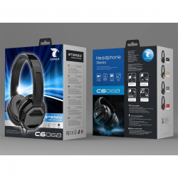 LT PLUS C6068 CASCO AURICULAR STEREO CON CABLE Y MICROFONO NEGRO