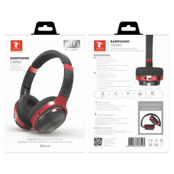 LT PLUS C6050 CASCO AURICULAR INALÁMBRICO BLUETOOTH 4.2 CON FM TF MICRO SD ROJO