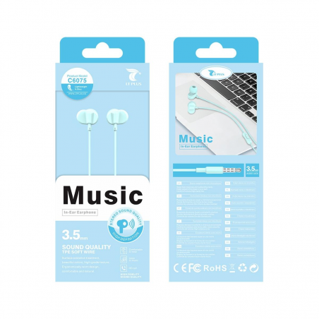 LT PLUS C6075 AURICULARES IN-EAR STEREO CON MICROFONO 3.5MM AZUL