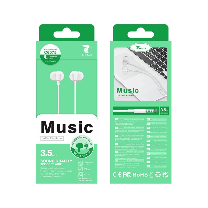 LT PLUS C6075 AURICULARES IN-EAR STEREO CON MICROFONO 3.5MM BLANCO