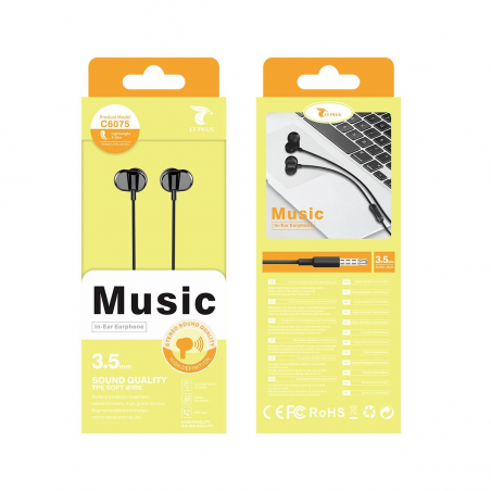 LT PLUS C6075 AURICULARES IN-EAR STEREO CON MICROFONO 3.5MM NEGRO